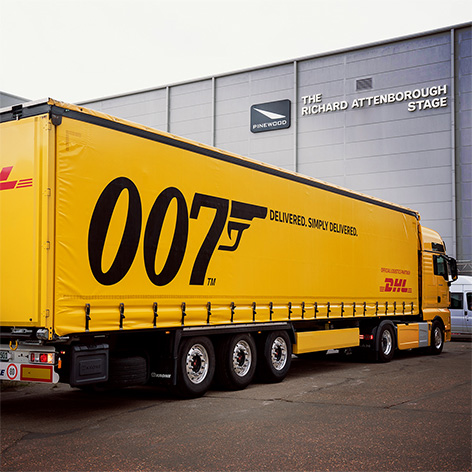DHL James Bond Pinewood Studios truck partner No Time To Die