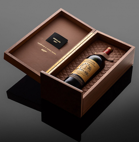Chateau Angelus 007 wine box leather wood