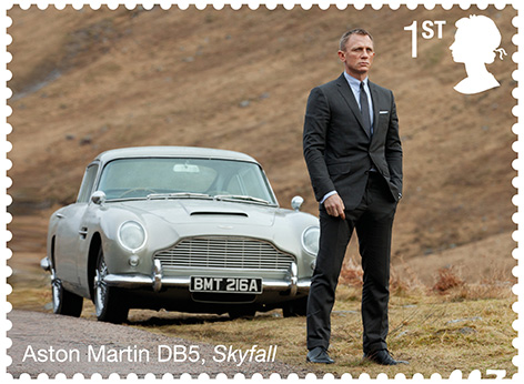 James Bond SkyFall Royal mail Stamp Aston Martin DB5
