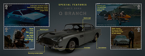 Royal Mail stamps vehicles James Bond 2020 info