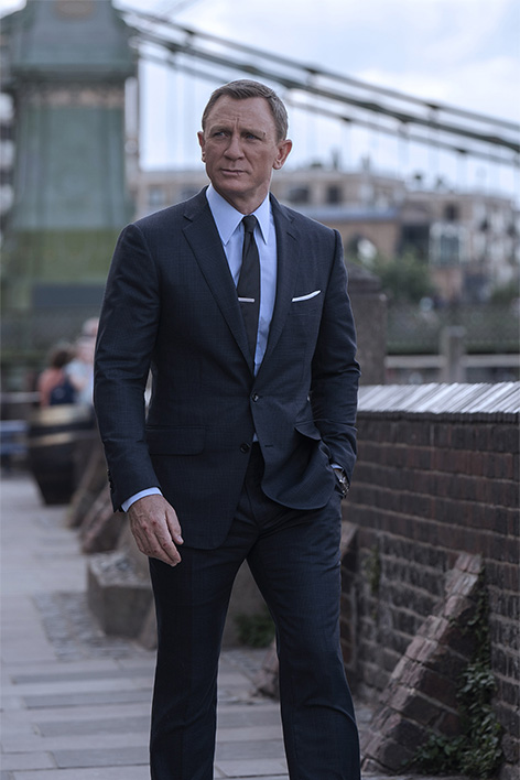 James Bond in TOM FORD Dark Blue Wool Silk Check O'Connor Notch Lapel Jacket, O'Connor Tailored Trousers, Sky Blue Poplin Collared Shirt and Dark Blue Diagonal Silk Tie