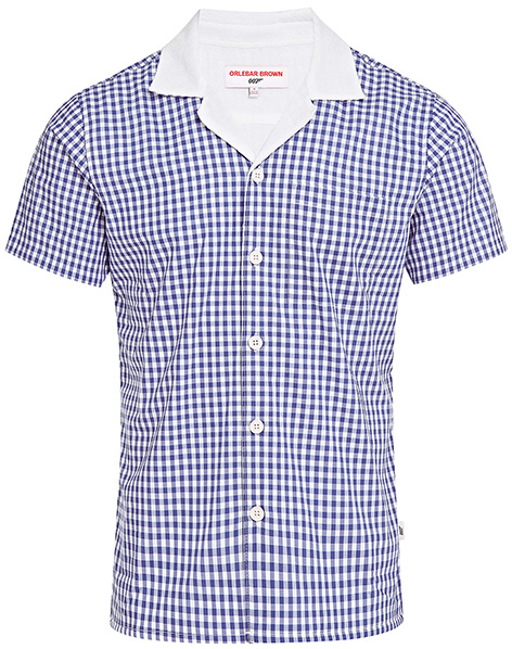 Orlebar Brown blue check gingham shirt 007 Collection