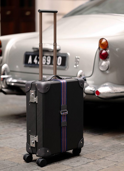 007 Limited Edition Carbon Fibre Carry-on Trolley Case with 4 wheels Pinstripe Carbon Fibre Graphite Leather with additional webbing strap aston martin db5