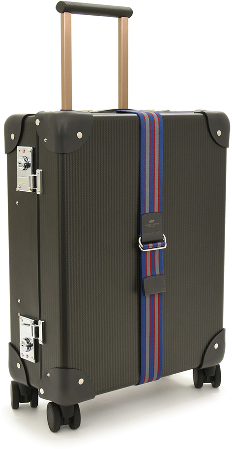 007 Limited Edition Carbon Fibre Carry-on Trolley Case with 4 wheels Pinstripe Carbon Fibre Graphite Leather with additional webbing strap full
