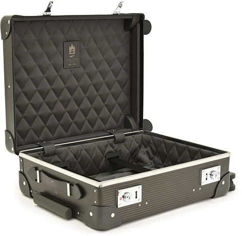 007 Limited Edition Carbon Fibre Carry-on Trolley Case with 4 wheels open