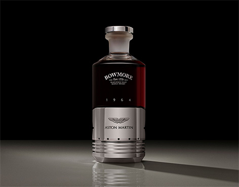 Black Bowmore DB5 Aston Martin whisky bottle