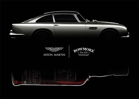 Aston Martin Black Bowmore DB5 1964 whisky collaboration bottle