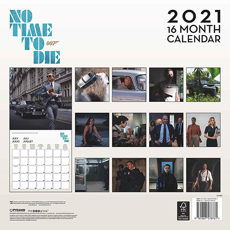 No Time To Die calendar 2021 16 months back photos James Bond