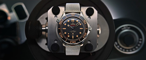 Omega Seamaster 300M No Time To Die promo Q watch gadget James Bond product shot