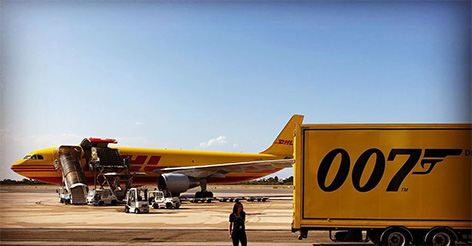DHL 007 airplane and truck james bond no time to die