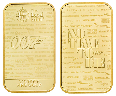 Royal Mint James Bond No Time To Die 007 Bullion Bars gold 1 ounce 2