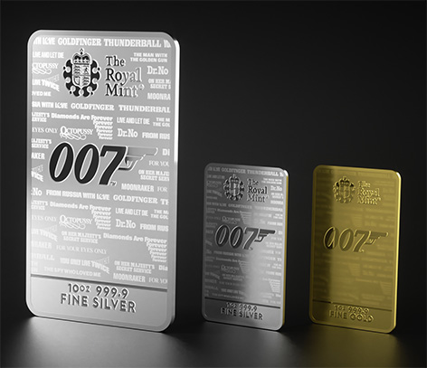 Royal Mint No Time To Die 007 Bullion Bars gold silver