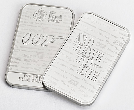 Royal Mint James Bond No Time To Die 007 Bullion Bars silver