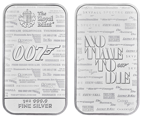 Royal Mint James Bond No Time To Die 007 Bullion Bars silver 2