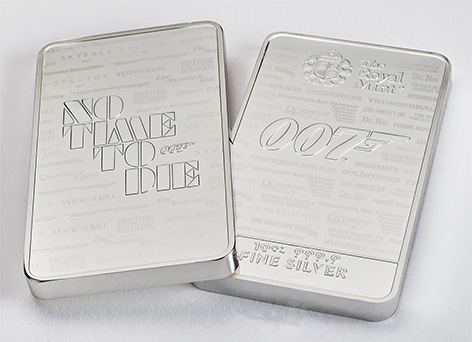 Royal Mint James Bond No Time To Die 007 Bullion Bars silver 10 ounce