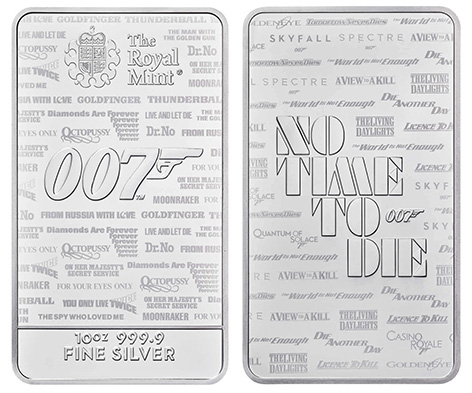 Royal Mint James Bond No Time To Die 007 Bullion Bars silver 10 ounce 2