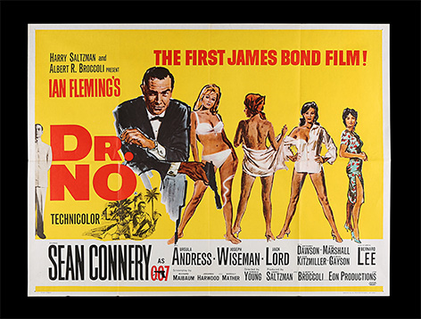 James Bond Dr No poster Quad UK auction