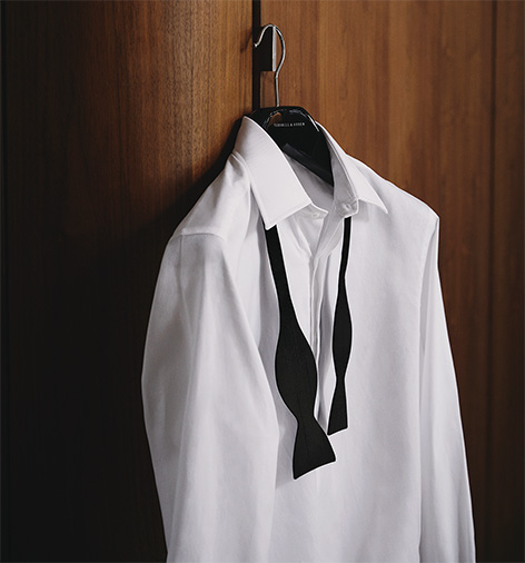 Turnbull & Asser Casino Royale white tuxedo shirt and bow tie James Bond Collection