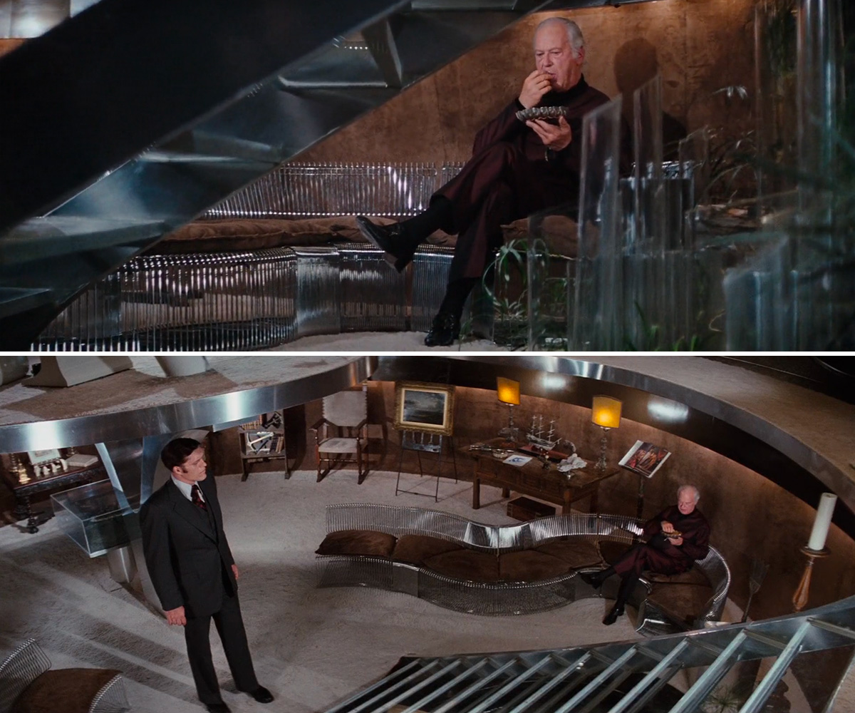 Karl Stromberg and Jaws Pantonova chairs in The Spy Who Loved Me
