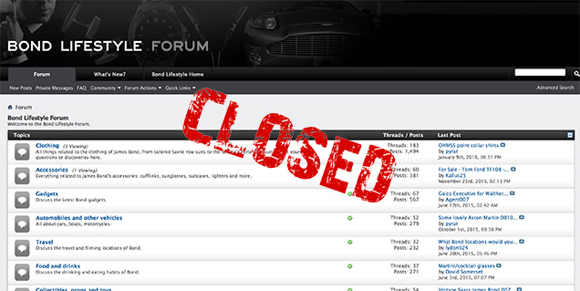Bond Lifestyle forum closed