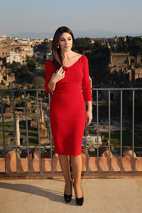 monica bellucci rome red dress