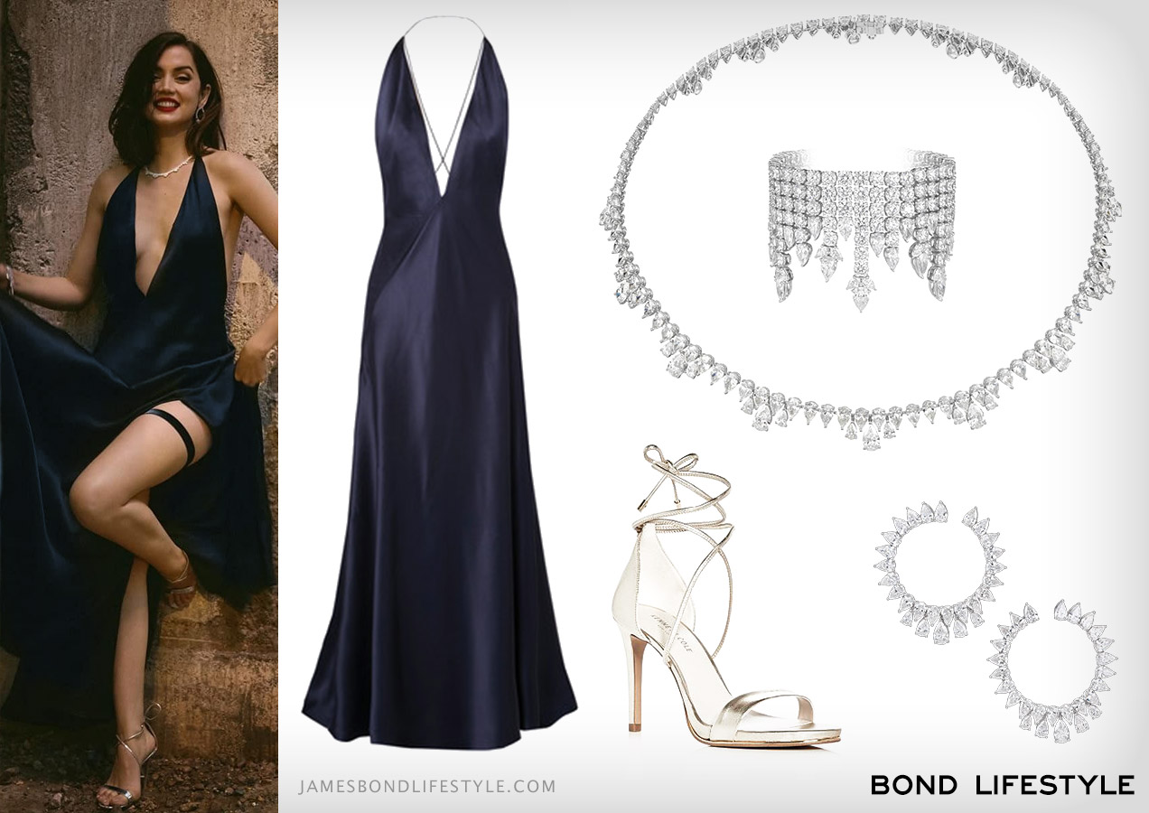 Ana de Armas blue dress silver high heel sandals chopard jewellery outfit No Time To Die