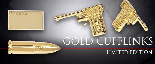 Golden cufflinks at the 007Store HP
