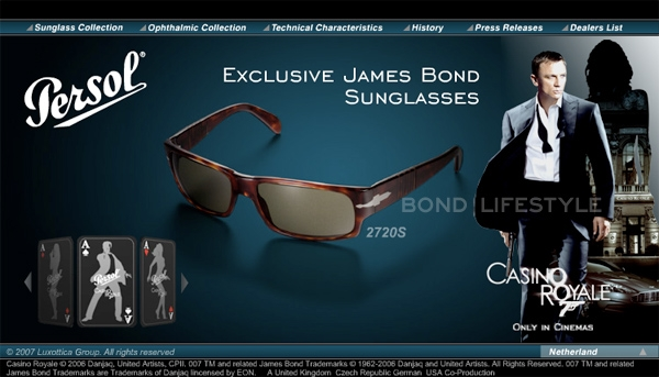 e3dd8c46ddc32 Screenshot of the 2720 Bond page on the Persol website in 2006 2007. In the  movie Casino Royale
