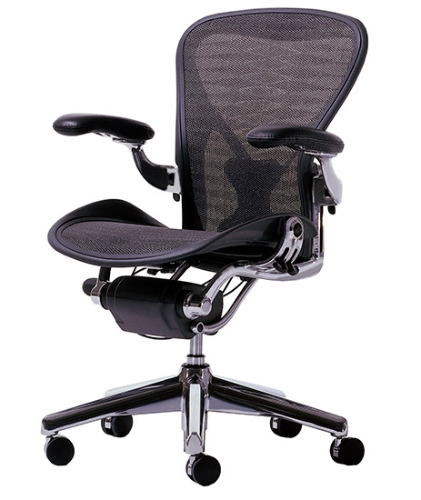 Herman Miller Aeron chair with polished aluminum base with graphite frame,  grey black tuxedo weave seat and back, adjustable arms, black leather arms  pads, ...