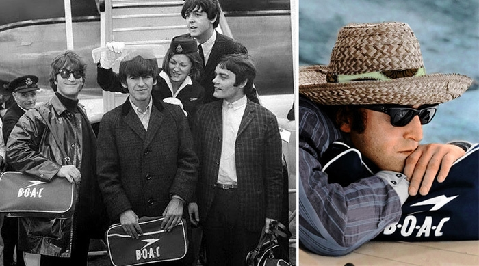 30d64d745b The Beatles arrive at London Airport carrying BOAC bags in 1964. John  Lennon resting on a BOAC bag in the Bahamas in 1965.