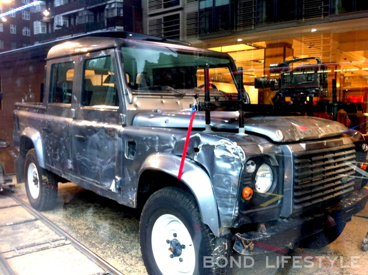 One Of The Land Rover Defenders That Was Used To Film SkyFall On  Display In Harrods Store London 2012.