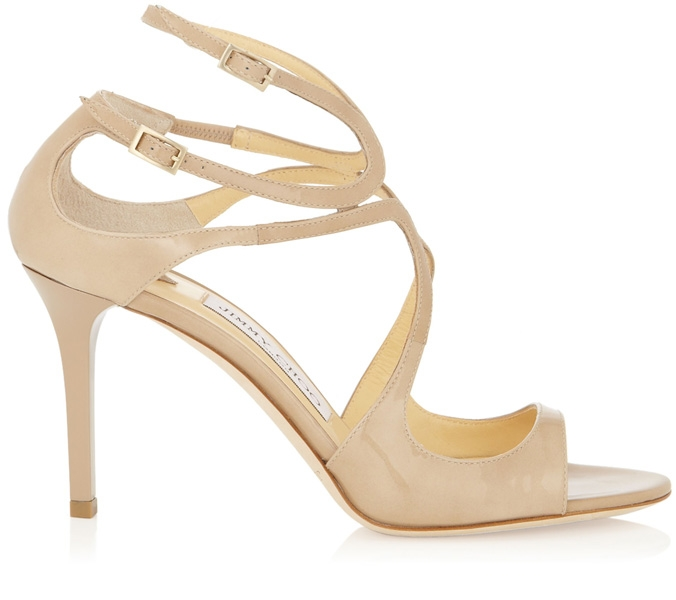 Jimmy Choo Ivette Nude Patent Leather Strappy Sandals, worn with the Lover  Venus Dress