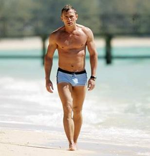 Daniel Craig wearing the blue La Perla Grigio Perla swimming trunks