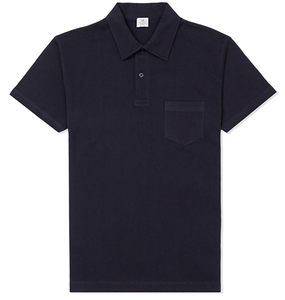 Sunspel blue polo shirt and t shirts bond lifestyle for Plain navy polo shirts
