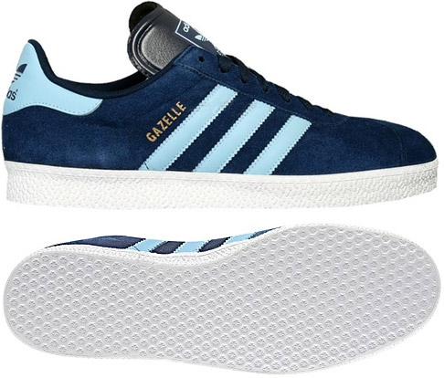 Adidas Gazelle 2 Dark Indigo with Argentina Blue stripes and White soles,  suede upper on rubber soles.