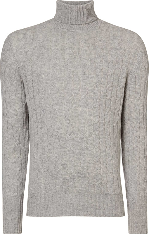 7b4c7778f90958 N.Peal Cable Roll Neck NPG-299B cashmere sweater in Fumo Grey