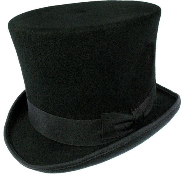 70012633871 Jaxon Hats Victorian Top Hat (with feather removed)