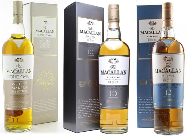 James Bond drinks the Macallan Fine Oak 10 Year Old (as pictured above in  the middle) in the bar while 'enjoying death' and watching CNN.
