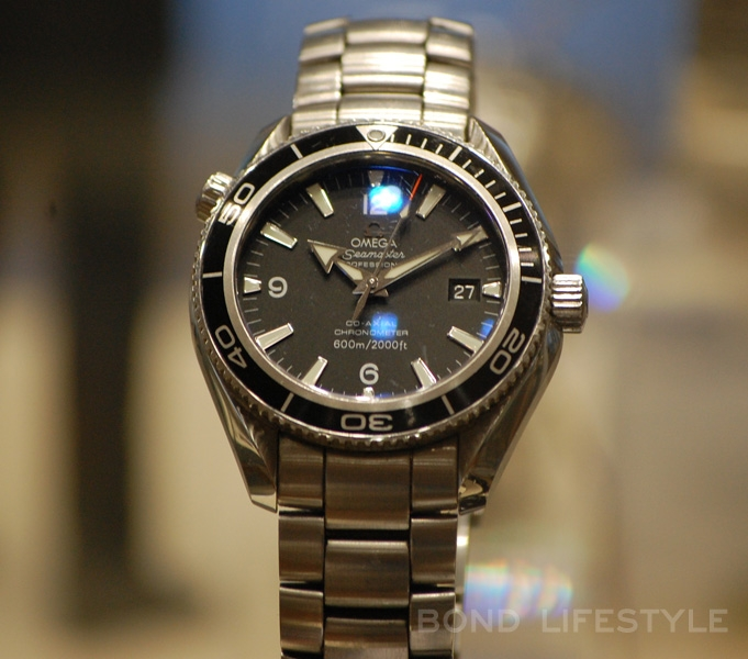 One of the original Seamasters worn by Daniel Craig during the filming of  QoS, on display at the Omega museum in Switzerland