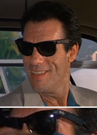 classic 1980s ray ban wayfarer  franz sanchez (robert davi) wearing a pair of ray ban wayfarer sunglasses in licence to kill