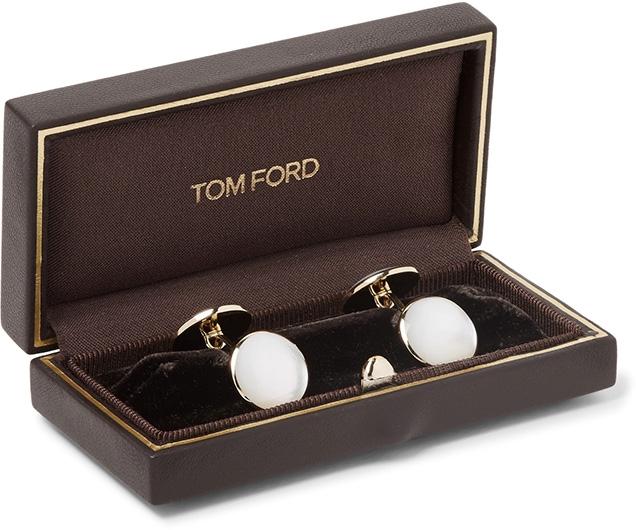 Tom Ford mother of pearl cufflinks in Tom Ford cufflink box