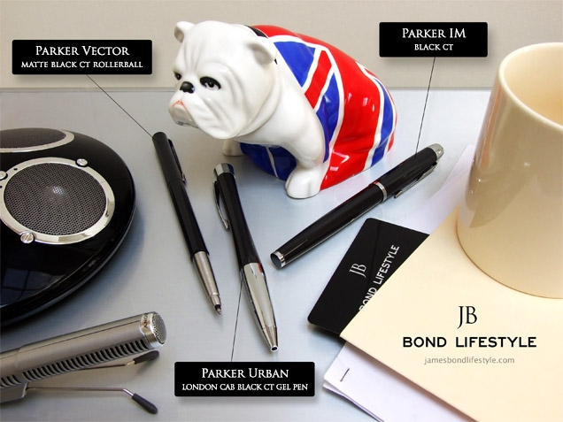 In the movie SkyFall, Parker Vector, Urban and IM pens can be seen on M's desk