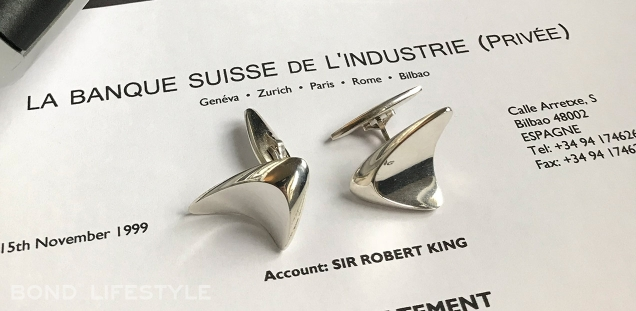 Georg Jensen 88 cufflinks are worn by James Bond in the Bilbao scenes of The World Is Not Enough