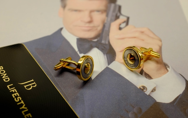 S.T. Dupont gold round cufflinks as seen in Die Another Day
