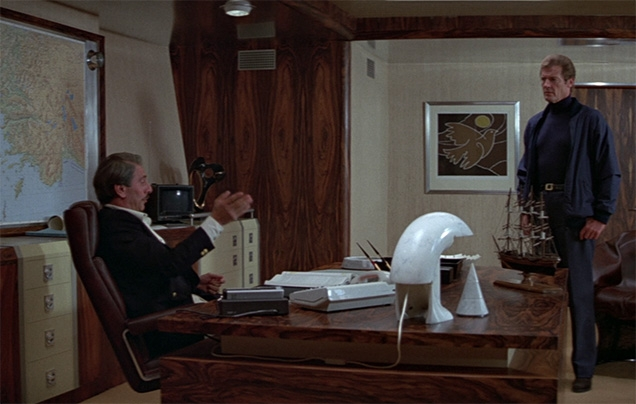 A Flos Biagio designer lamp can be seen on the desk of Milos Columbo (Chaim Topol) in For Your Eyes Only.