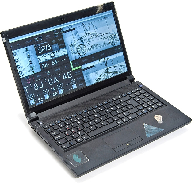 One of the actual Clevo laptops used by Q in the film which will be auctioned by Christie's