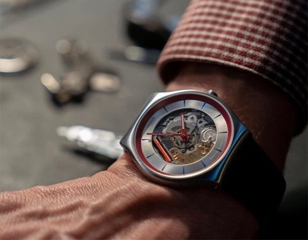 Promotional shot of the Swatch Q watch (not a screenshot from the film)