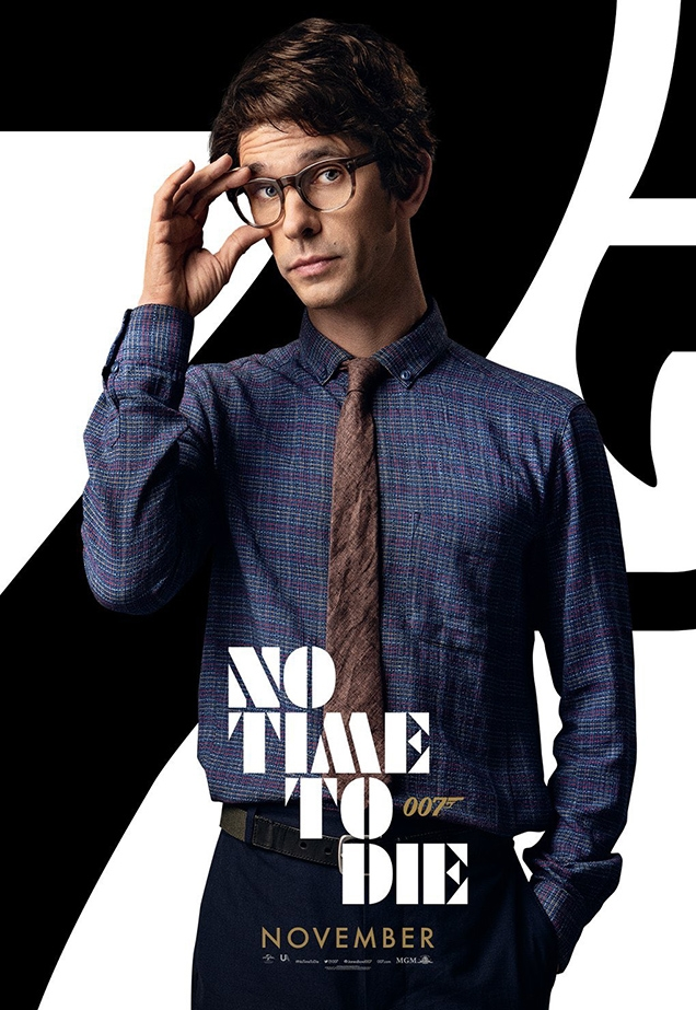 Q wearing the YMC Dean shirt on a character poster for No Time To Die