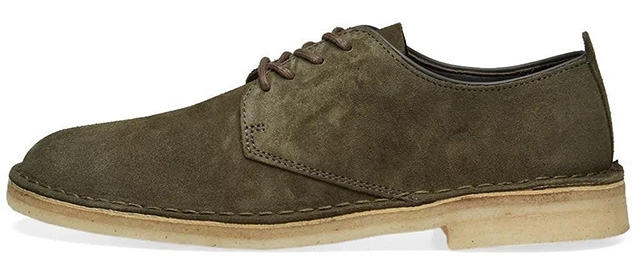 Clarks Originals Desert London in Pine Green suede and White Crepe Sole