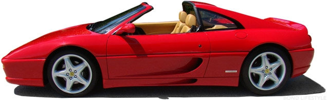A red Ferrari F355 GTS with tan interior, similar to the car driven by Xenia in GoldenEye.